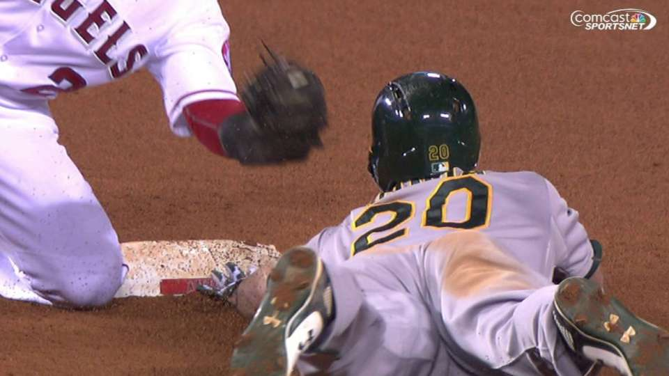 Canha steals second