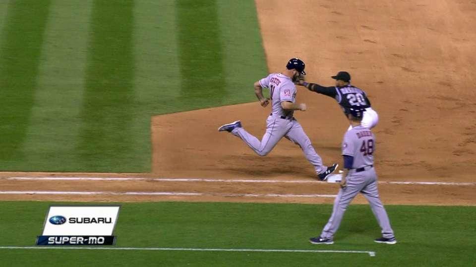 Miller gets Gattis on close play