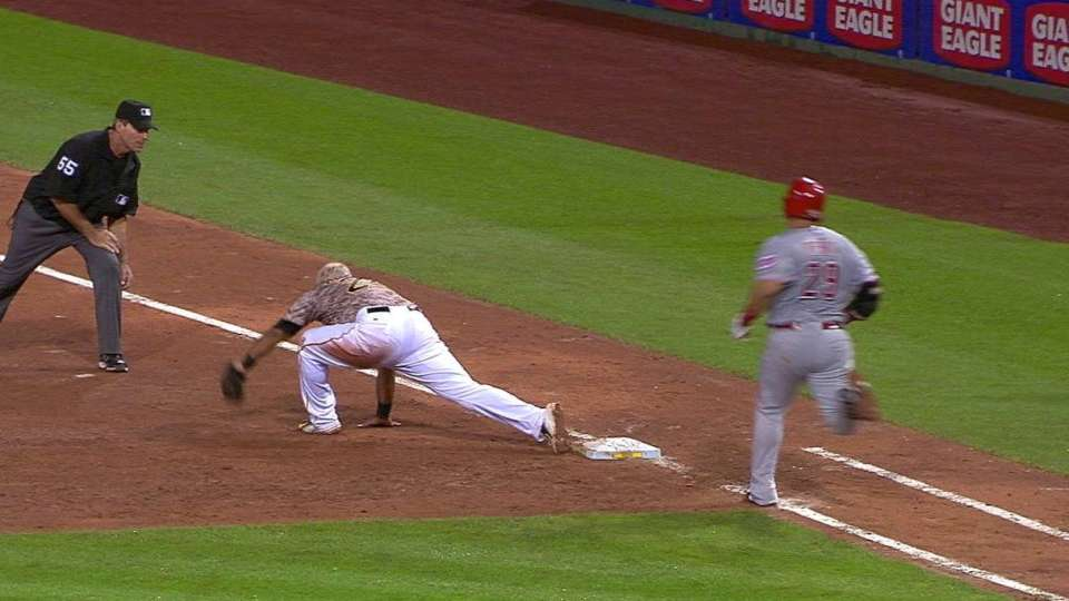Pena safe at first, call stands