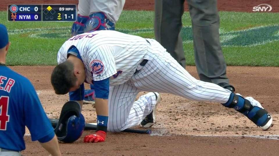 Flores shaken up on foul