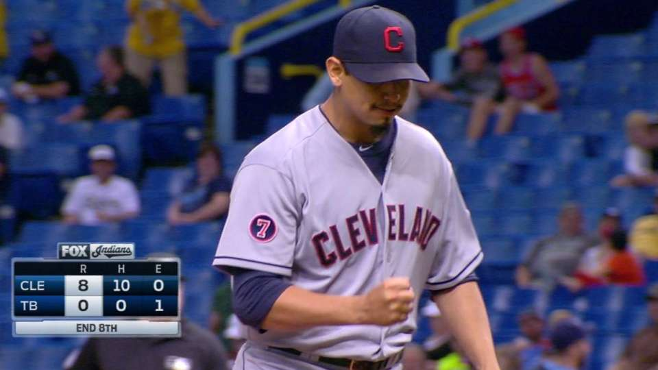 Carrasco keeps no-hit bid alive
