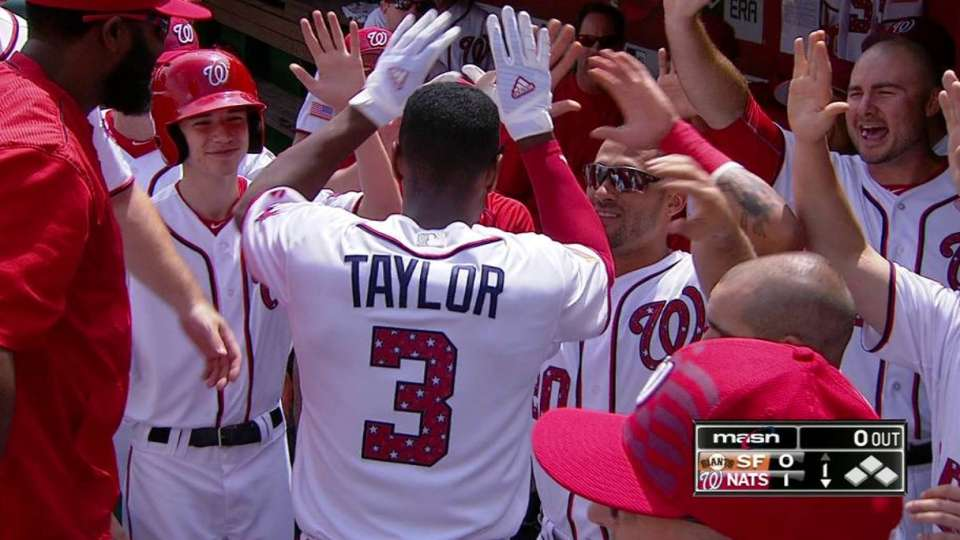Taylor's leadoff home run