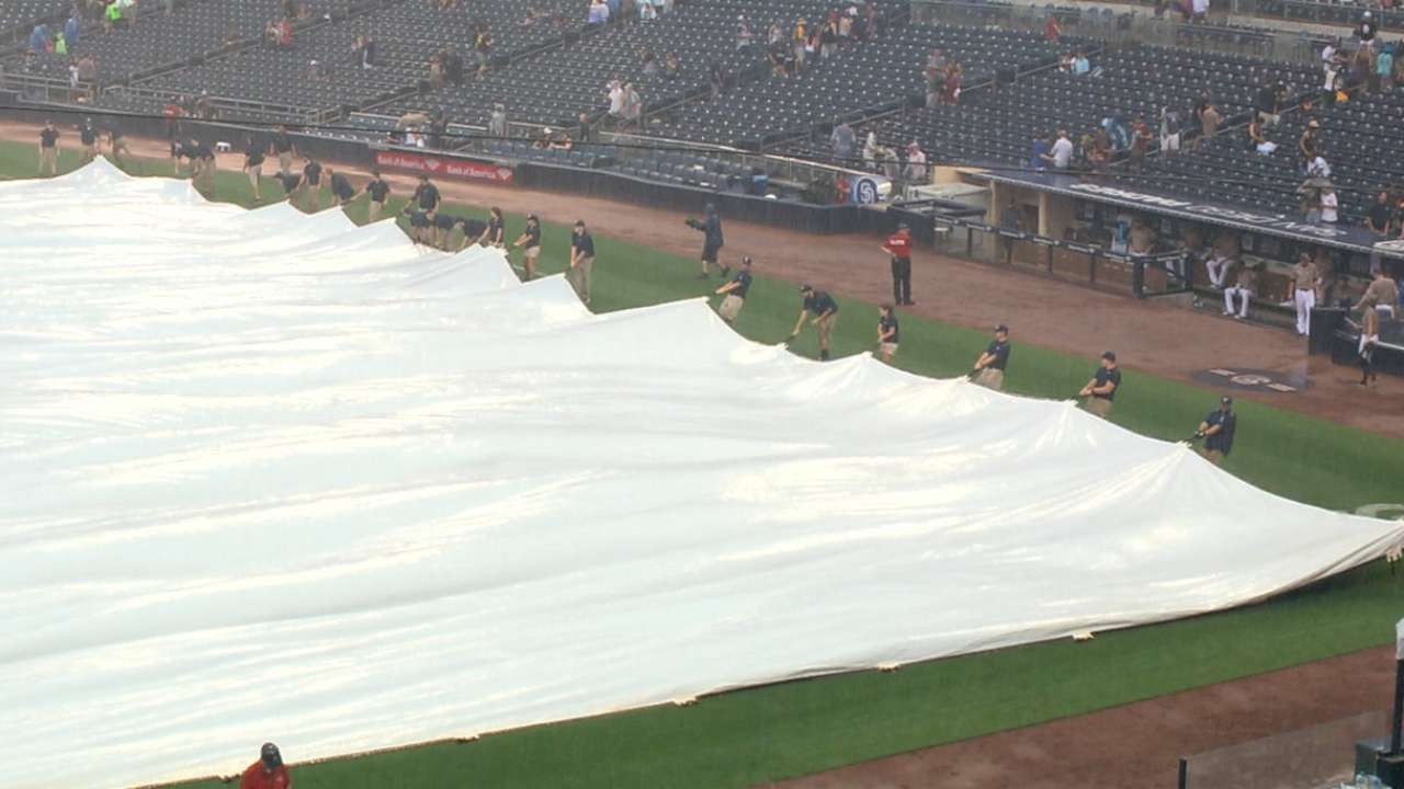 in rare occurrence padres game rained out mlb com