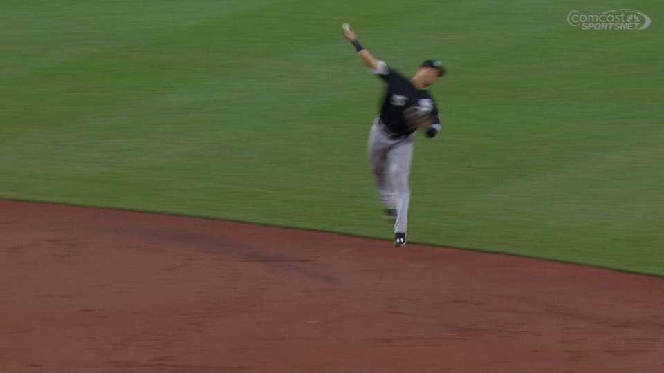 Sanchez's jump-throw to first