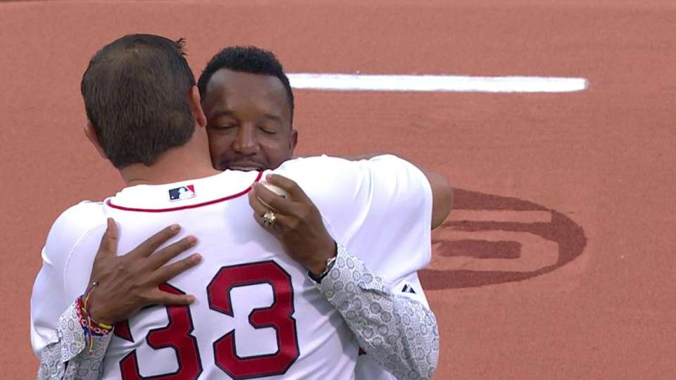 Pedro throws out first pitch