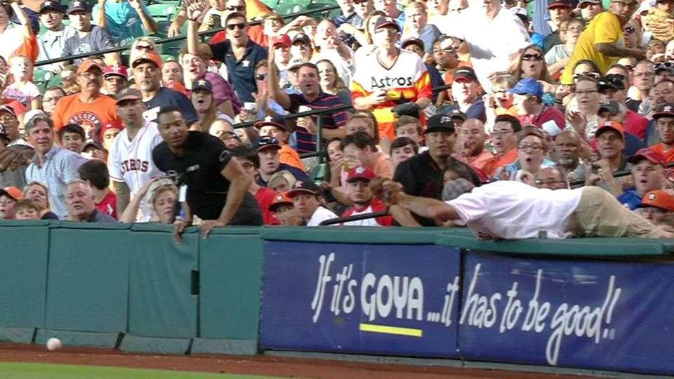 Astros fan on near catch