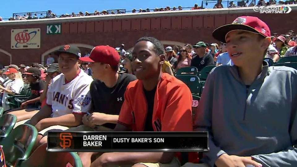 Darren Baker at Giants game