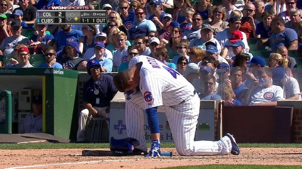 Rizzo shaken up, but stays in