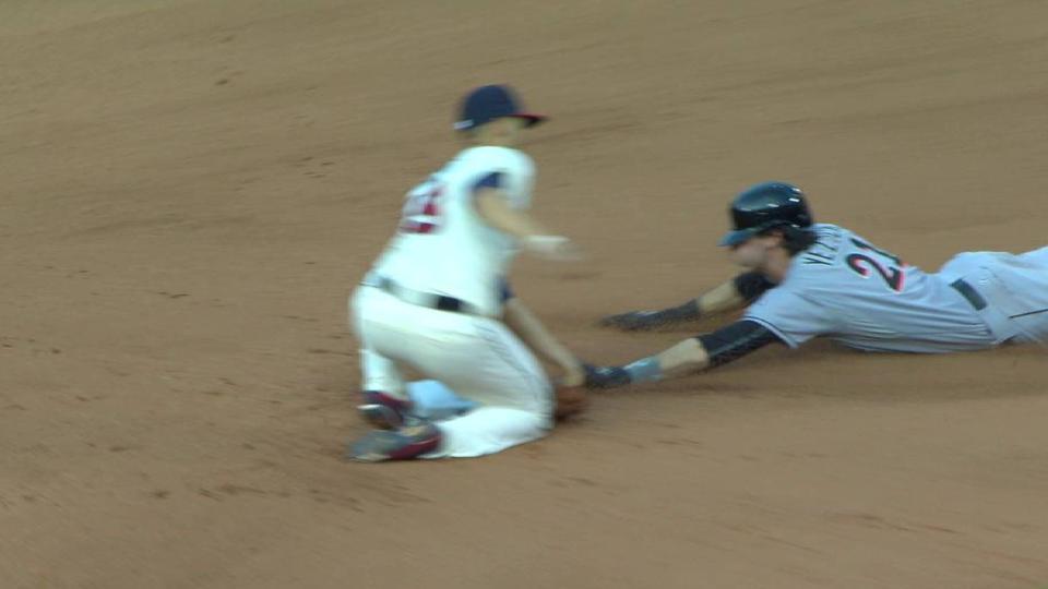 With Martin Prado batting, Christian Yelich steals (13) 2nd base.