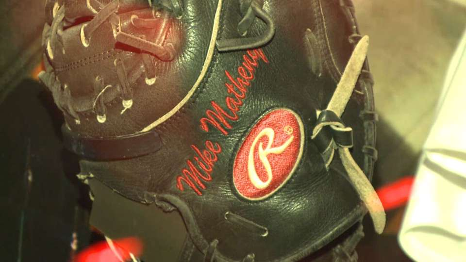 Matheny's glove at Cards Museum