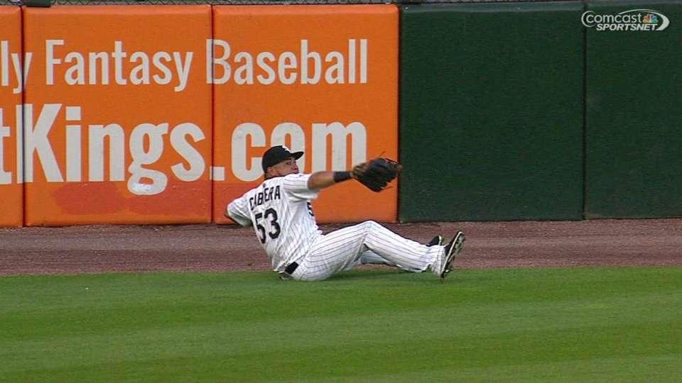 Cabrera's backside throw