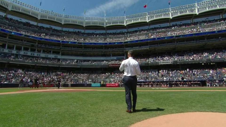 Jorge Posada's first pitch