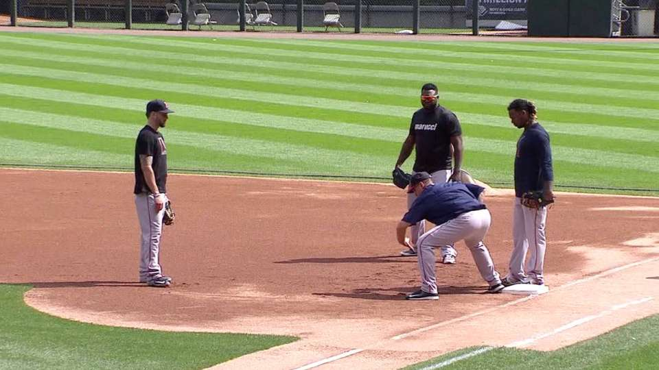 Ramirez works out at first base