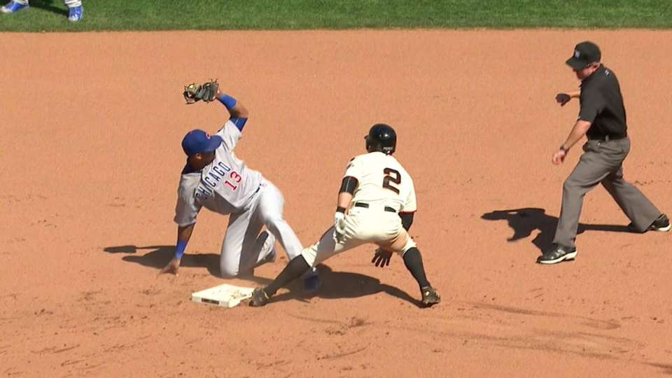 Bryant nabs Perez at second