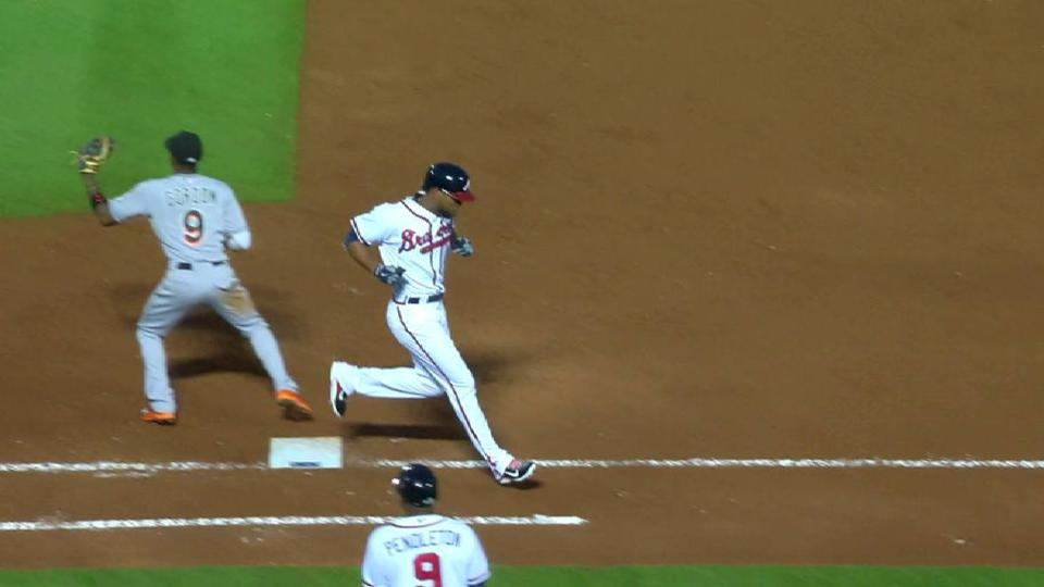 Sugar Ray Marimon singles on a bunt pop to third baseman Martin Prado, deflected by first baseman Justin Bour.   Daniel Castro to 2nd.