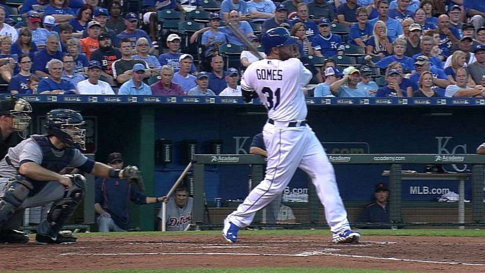 Gomes' first Royals hit