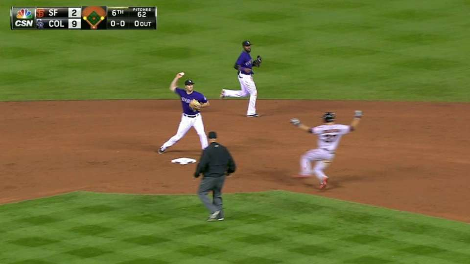 Pagan scores on double play