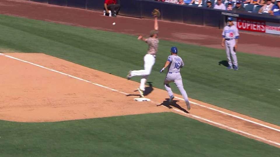 Dodgers score three on error