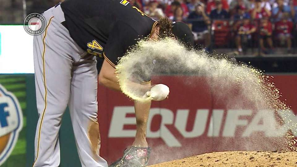 Rosin bag breaks on the mound