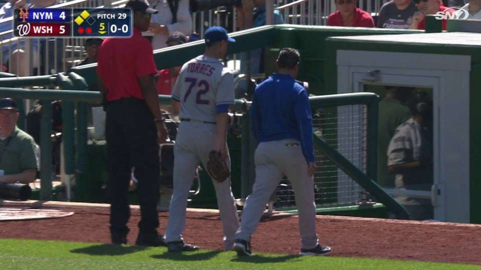 Torres makes play, exits game