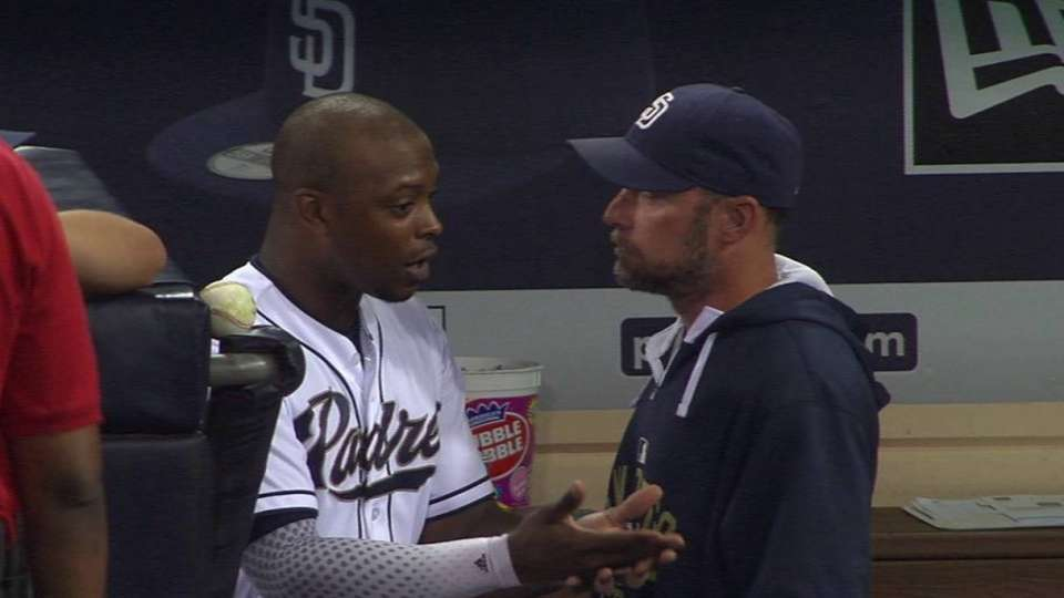 J. Upton, Kotsay talk in dugout