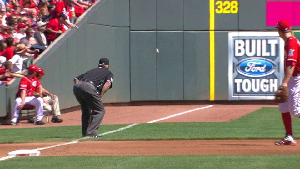 Piscotty's foul ball stands