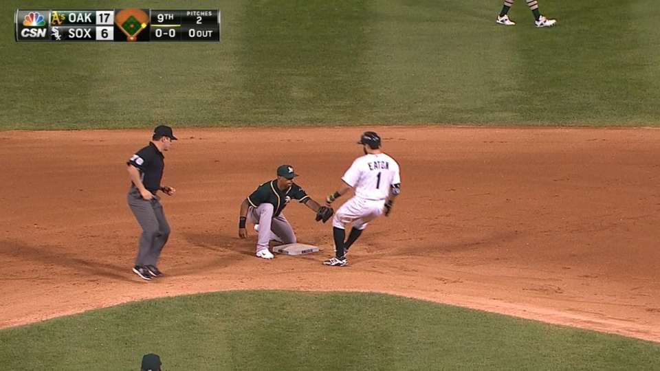 Eaton thrown out at second