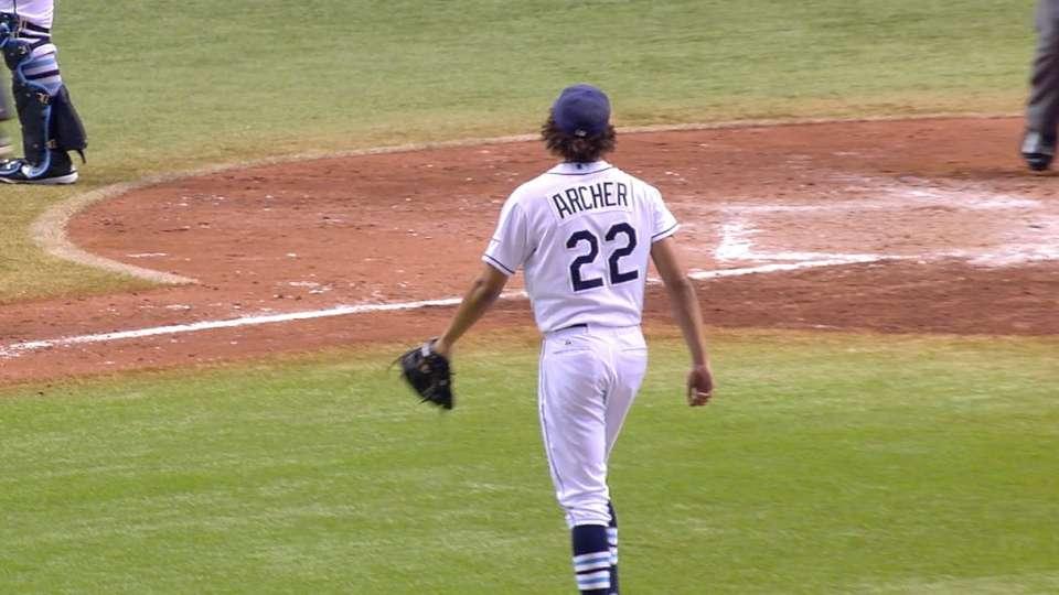 Archer fans seven Yankees