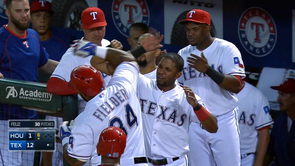 Rangers' five homers