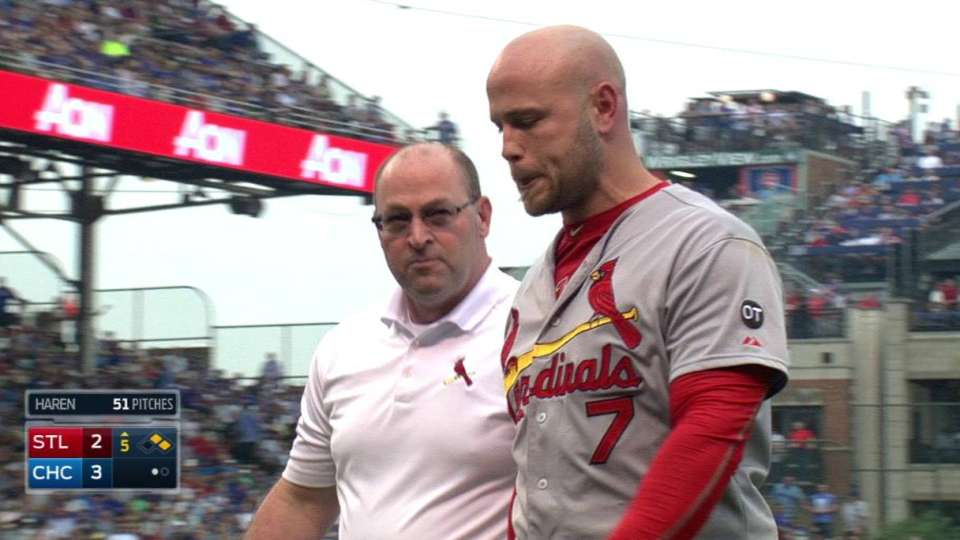 Holliday hit in head by pitch