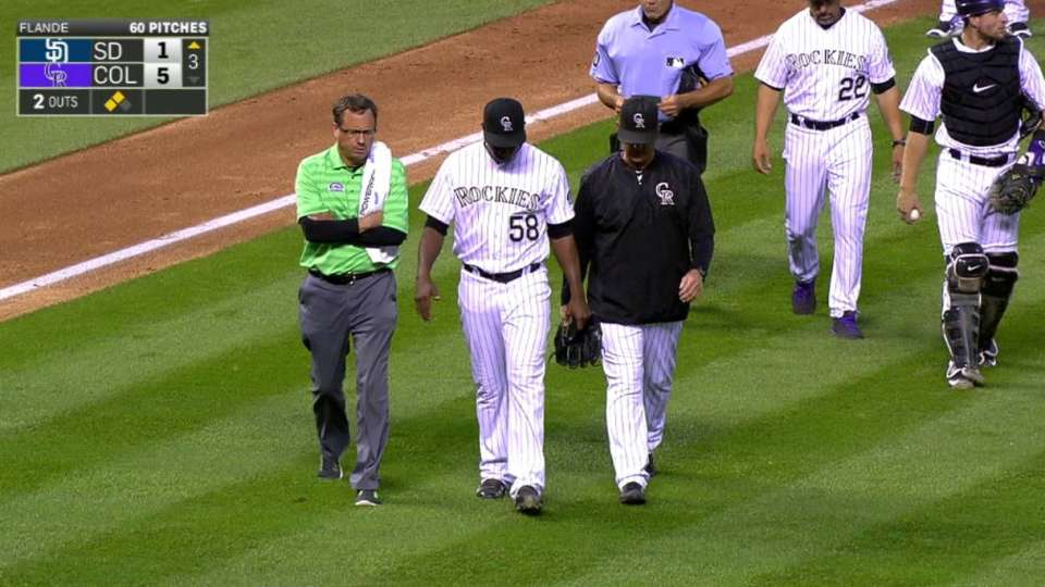 Flande exits after getting hit