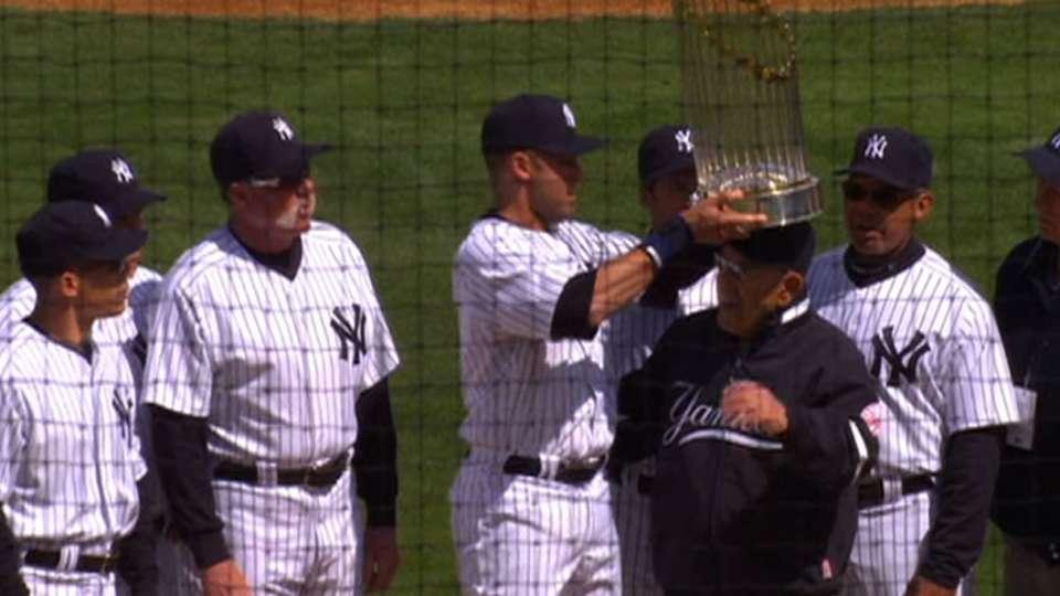 Yogi, Jeter with Series trophy