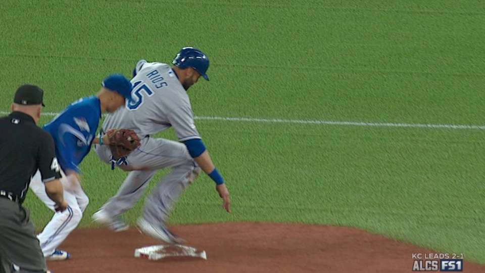 Rios caught stealing second