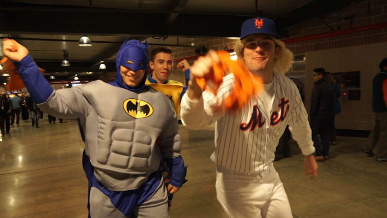 fans wear halloween costumes at citi field during world series | mlb