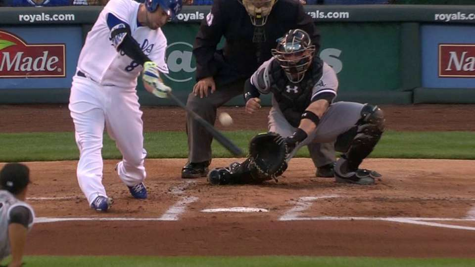 Moustakas' 100th career double
