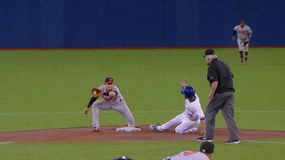 Travis steals first MLB base