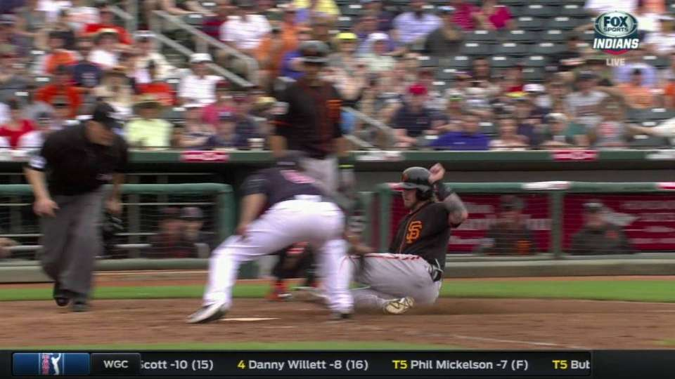 Moore throws out runner at home