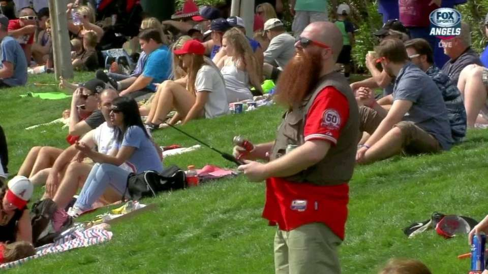 Angels fan fishes for Trout