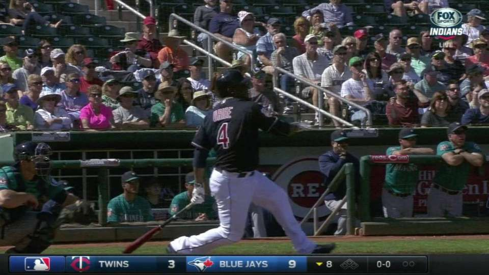 Uribe's first spring hit