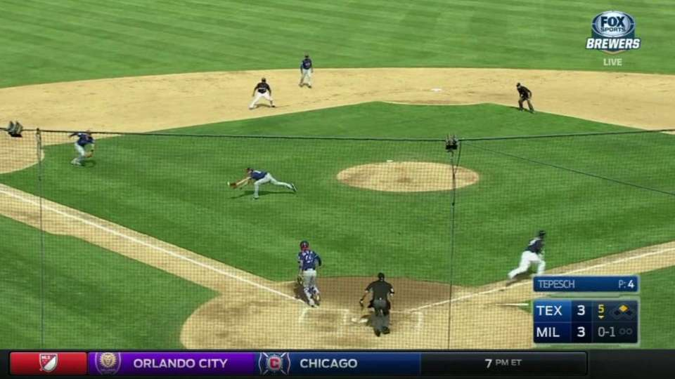 Tepesch's diving catch on bunt
