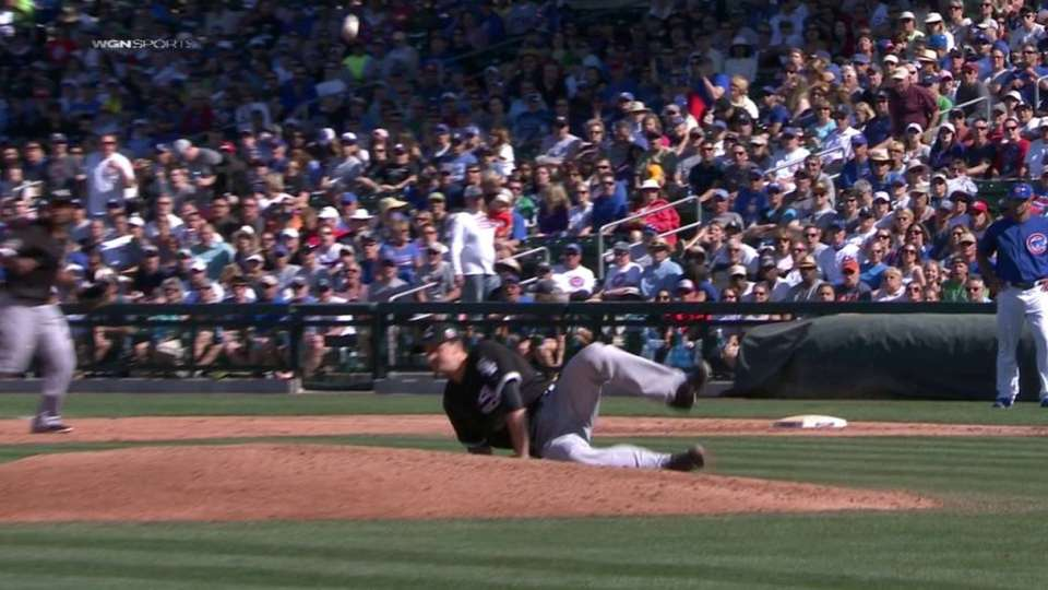 Petricka gets hit by line drive