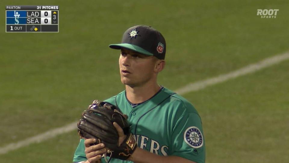 Alex Hassan reaches on a fielding error by third baseman Kyle Seager.