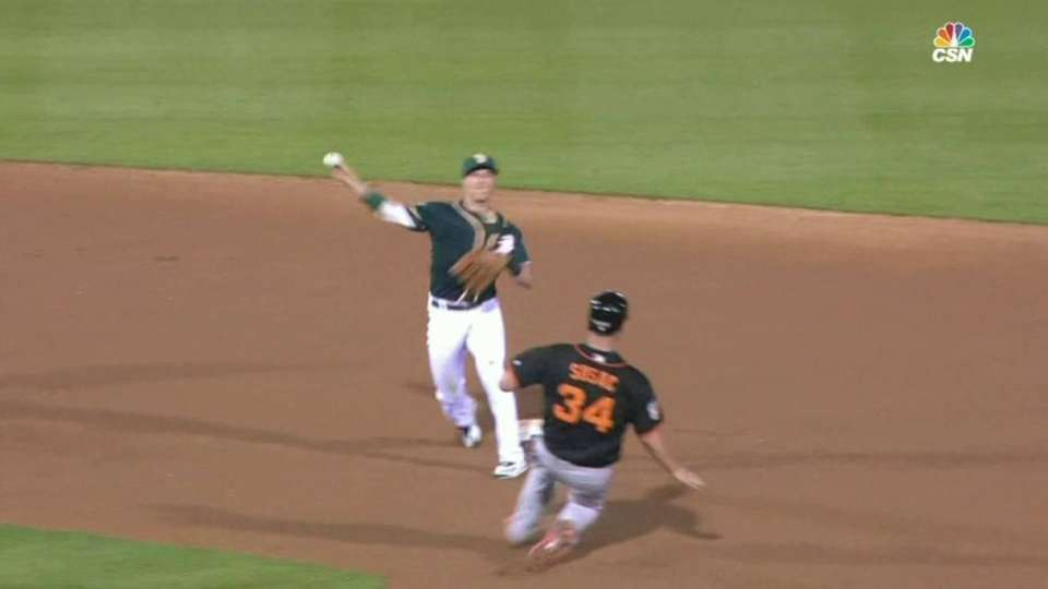 A's around-the-horn double play