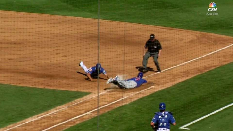 Baez singles off pitcher's foot