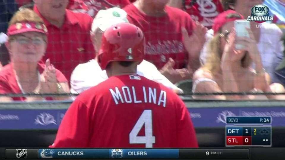 Molina's first at-bat back