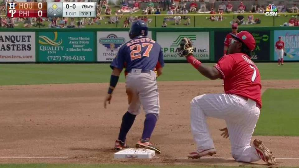 Arencibia nabs Altuve at third