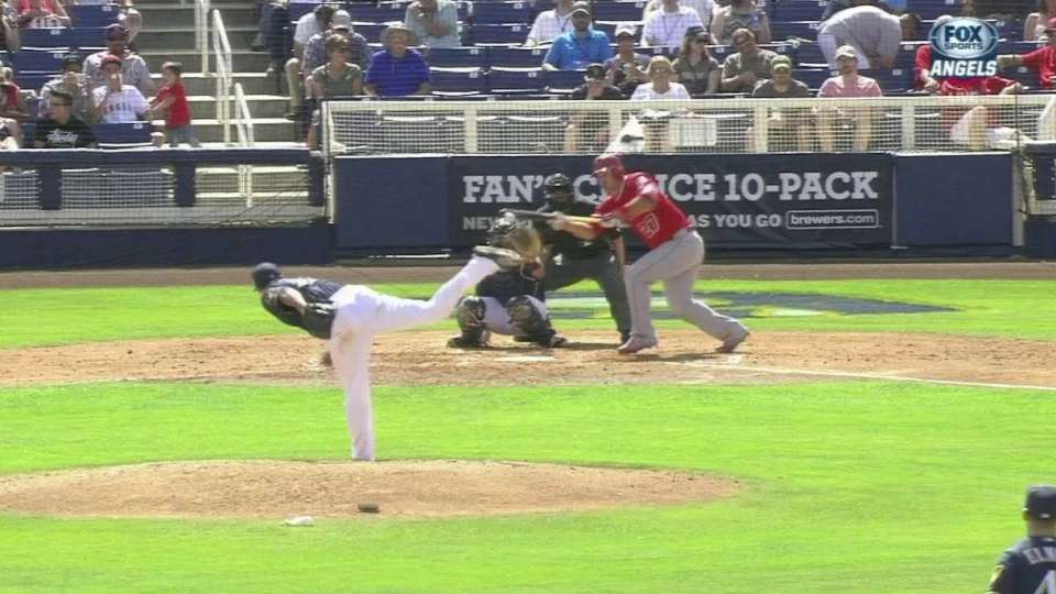 Trout lays down bunt single