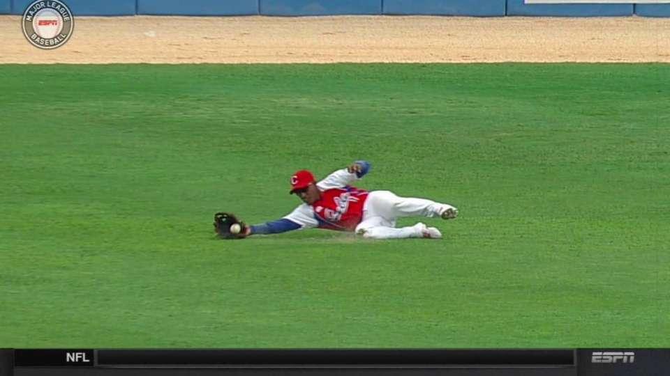 Santos' sliding catch