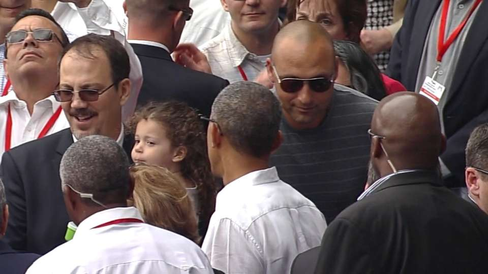 Jeter greets Obama