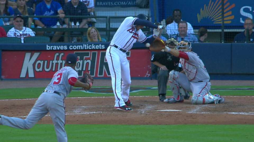 Freeman gets hit by a pitch